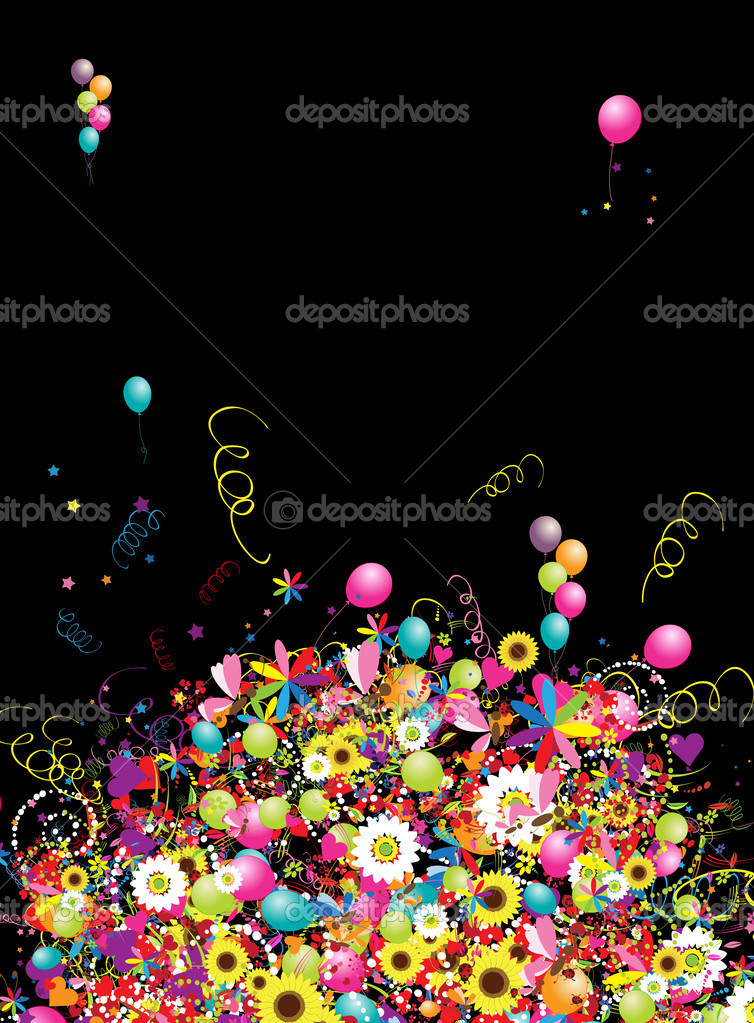 Happy holiday, funny background with balloons for your design — Stock Vector #4848605