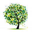 Abstract tree green for your design — Imagen vectorial