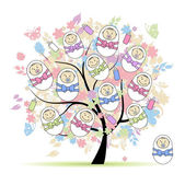 Floral tree with newborns for your design — Stock Vector