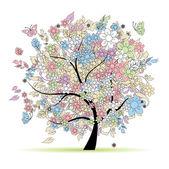 花树为您设计的粉色,在春天 — 图库矢量图片