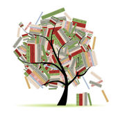 Books library on tree branches for your design — Stock Vector