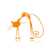 Angry orange striped cat for your design — Stock Vector