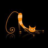 Graceful orange striped cat for your design — Stock Vector