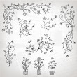 Floral ornament sketch, silhouette for your design — Stock Vector #5209908
