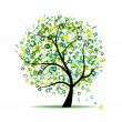 Royalty-Free Stock Vector Image: Art tree with letters green for your design