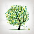 Royalty-Free Stock Vector Image: Art tree with figures green for your design