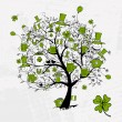 St. Patrick's Day, drawing tree with beer mugs for your design — Imagen vectorial