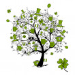 St. Patrick's Day, drawing tree with beer mugs for your design — Stock Vector