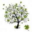 St. Patrick's Day, drawing tree with beer mugs for your design - Stock Vector