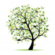 Spring tree green with birds for your design — Vector de stock