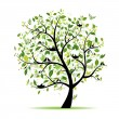 Spring tree green with birds for your design — Imagen vectorial