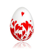Easter egg with red hearts for your design — Stock Vector