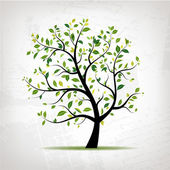 Spring tree green on grunge background for your design — Stock Vector