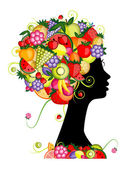 Female profile silhouette, hairstyle with fruits for your design — Stock Vector