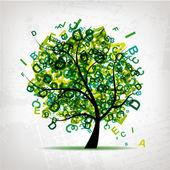árbol de arte con letras verdes para su diseño — Vector de stock