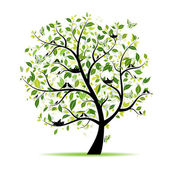 Spring tree green with birds for your design — Cтоковый вектор