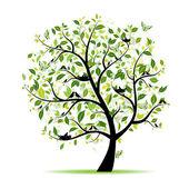 árbol de primavera verde con aves para su diseño — Vector de stock