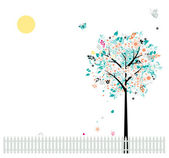 Floral tree beautiful for your design, birds on fence — Vector de stock