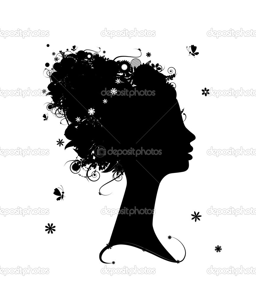 Female profile silhouette, floral hairstyle for your design — Stock Vector #5209895