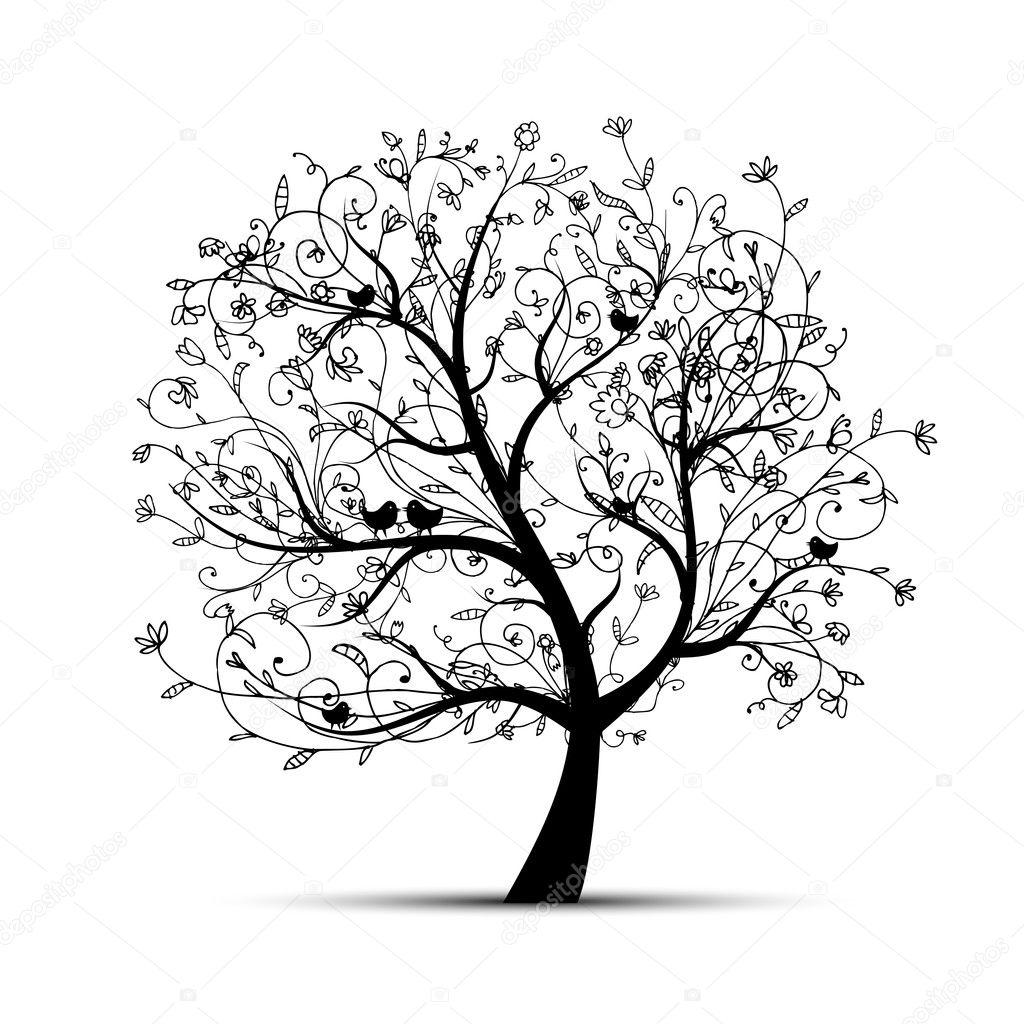 Black Tree And Flower Illustrations 23