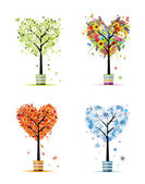 Four seasons - spring, summer, autumn, winter. Art trees in pots for your d — Stock Vector