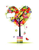 Fruit tree in shape of heart for your design — Stock Vector