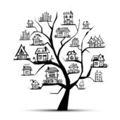 Tree with houses on branches — Stock Vector