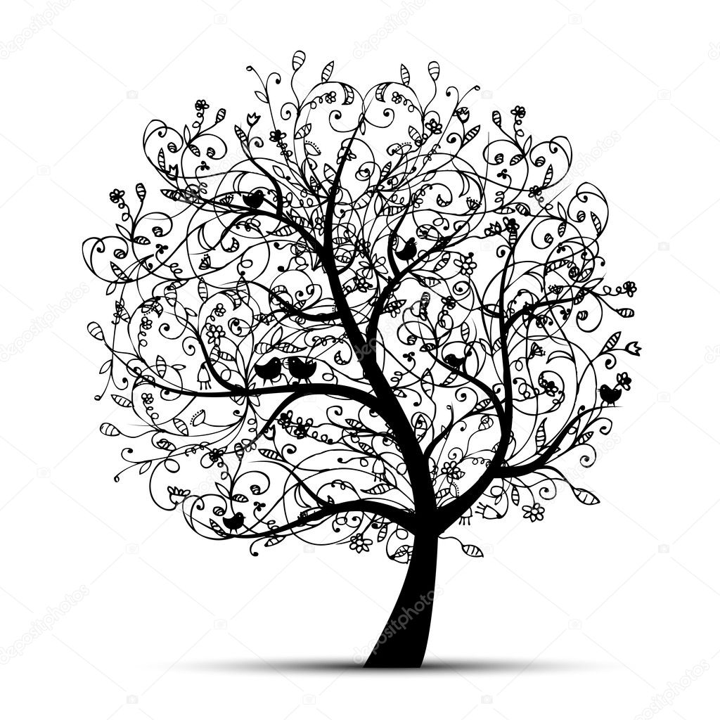 Cool Tree Black And White: Art Tree Beautiful, Black Silhouette For Your Design