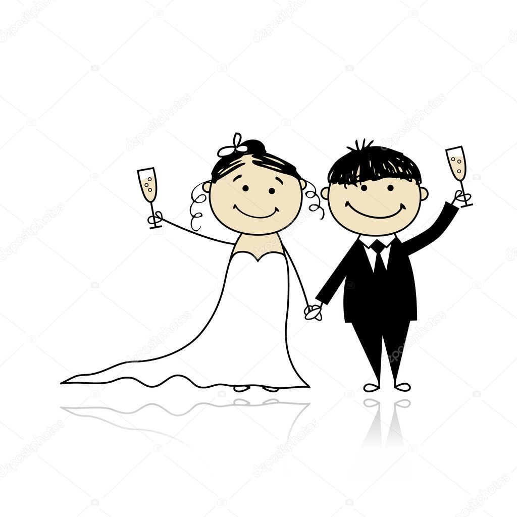 Wedding ceremony - bride and groom together for your design  — Image vectorielle #5376944