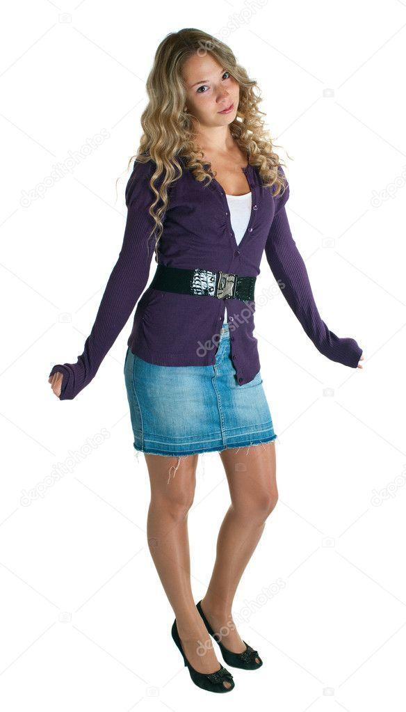 Девушка сиреневый юбка