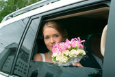 Serenity bride with flowers — Stock Photo