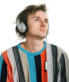 Shaggy men in headphones — Stock Photo