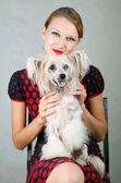 Girl and chinese crested dog — Stock Photo