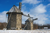 Old wooden windmills — Stock Photo
