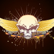 Skull winged emblem - Stock Photo