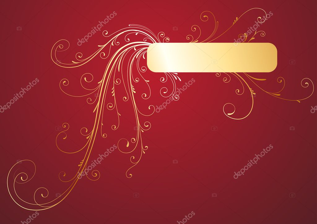 Illustration of Golden Floral Decorative banner on red background — Stock Photo #4033213