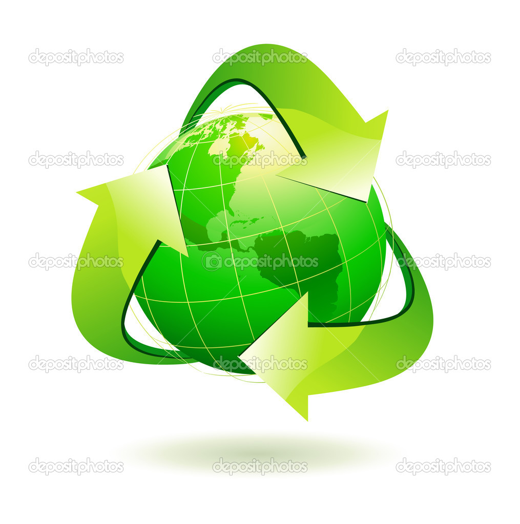 Recycle Symbol Circle Earth With Recycle Symbol