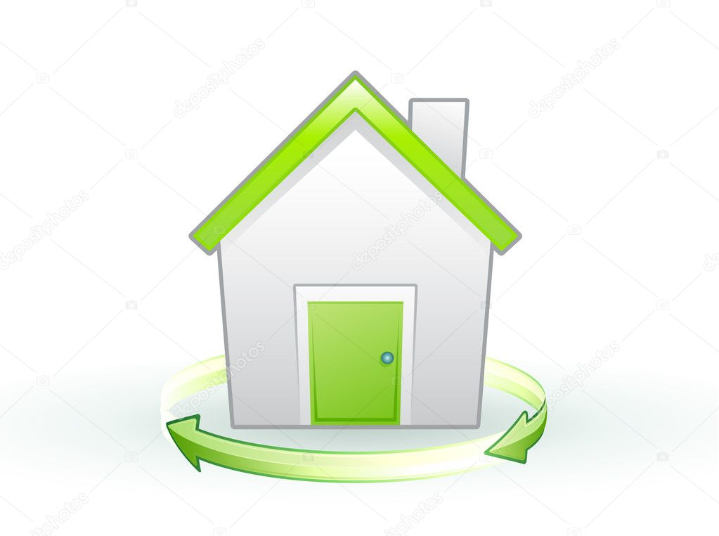Illustration of Single eco icon - Green house — Stock Photo #4039412
