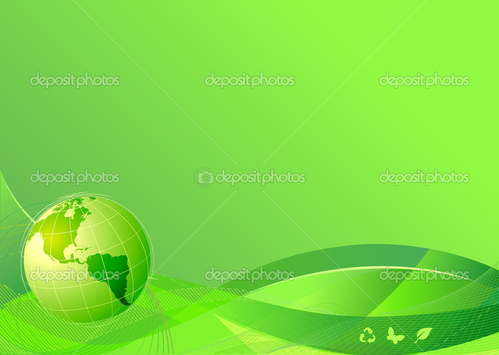 Illustration of green abstract lines background - composition of curved lines and globe — Stock Photo #4080084
