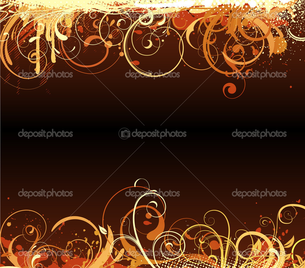 Illustration of brown funky Grunge futuristic background with shiny floral Decorative border — Stock Photo #4093005
