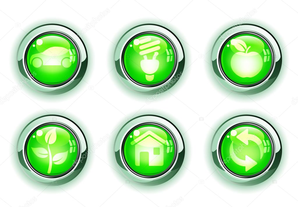 Illustration set of green ecologe icons — Stock Photo #4112086