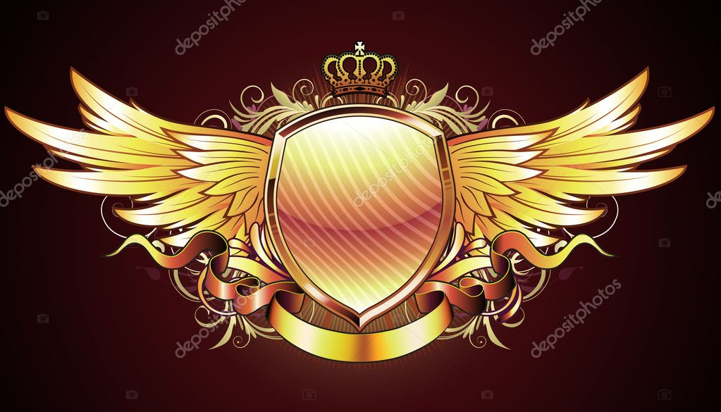 Illustration of golden heraldic shield or badge with two wings, crown, banner and floral elements — Stock Photo #4114837