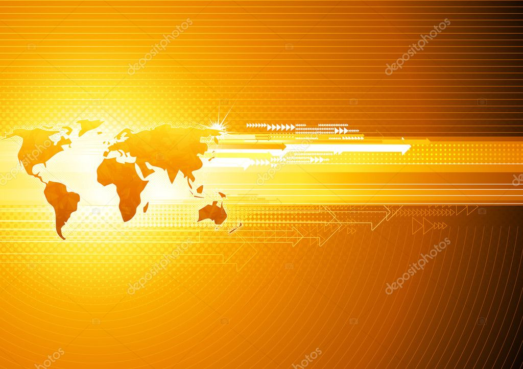 Illustration of orange abstract hi-tech Background with Glossy world map   — Stock Photo #4120048
