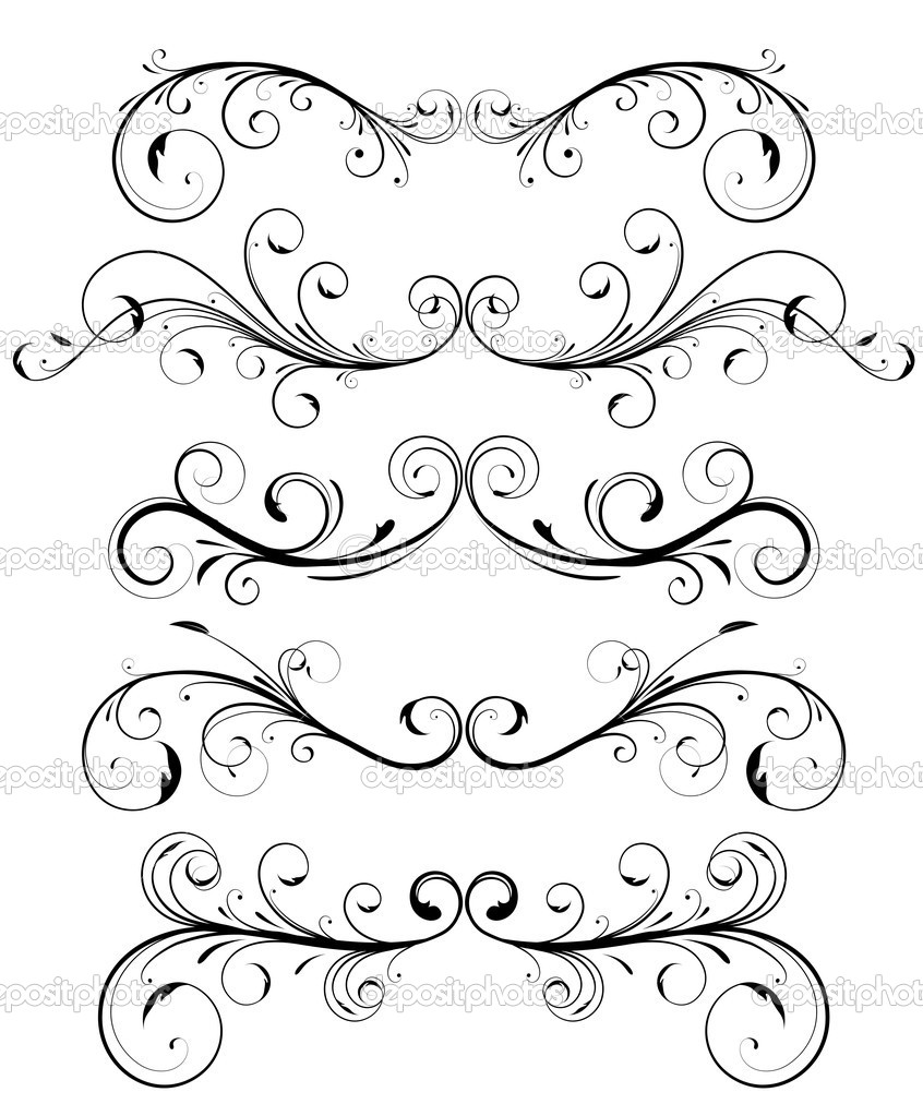 Set of floral decorative ornament page rules — Stock Photo #5212520
