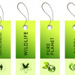 Light green tags with inscriptions - Foto Stock