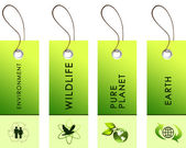 Light green tags with inscriptions — Стоковое фото