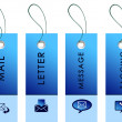 Blue tag with inscriptions - Stock Photo