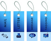 Blue tag with inscriptions — Foto de Stock