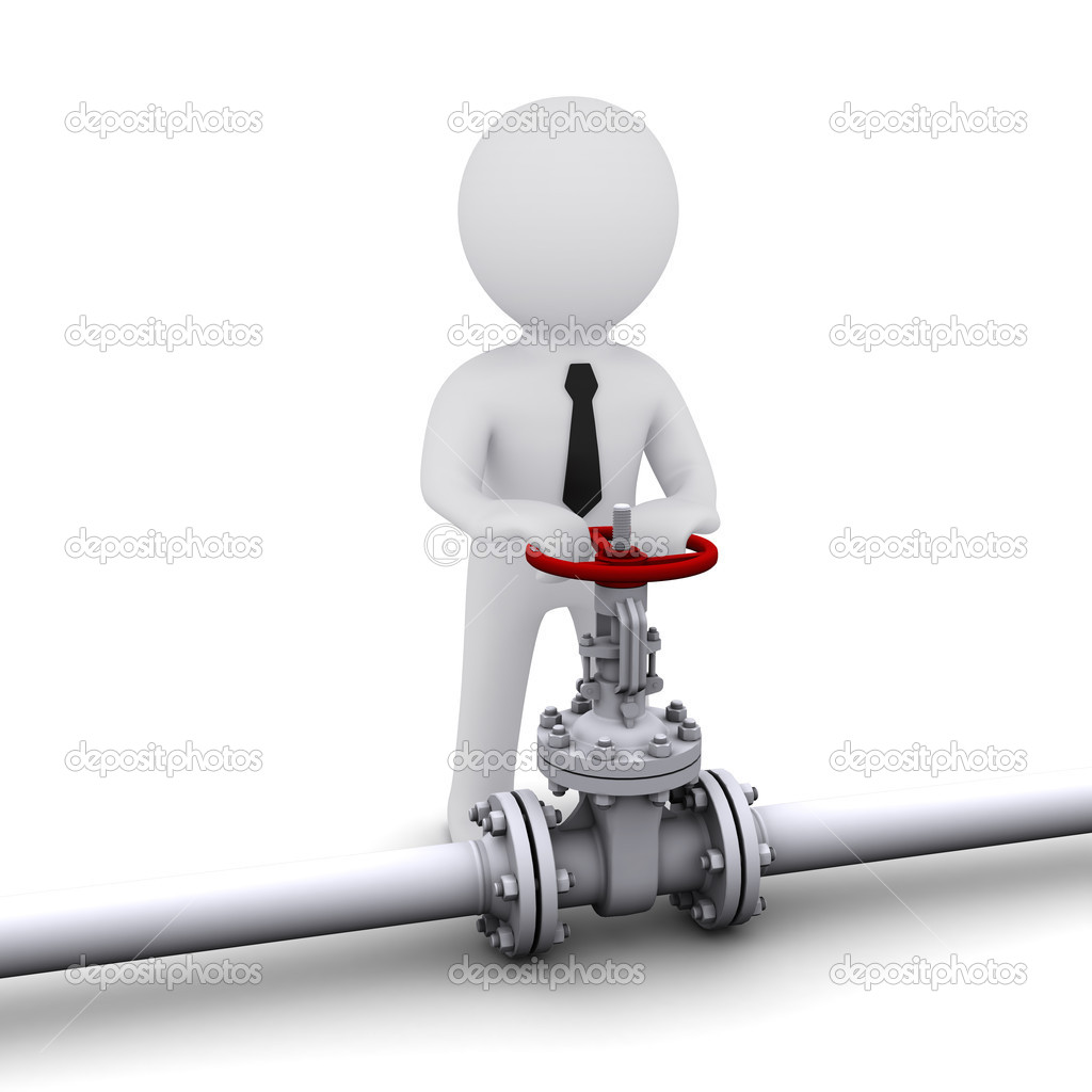 Small three-dimensional man turns the valve on the tube — Stock Photo #5243480
