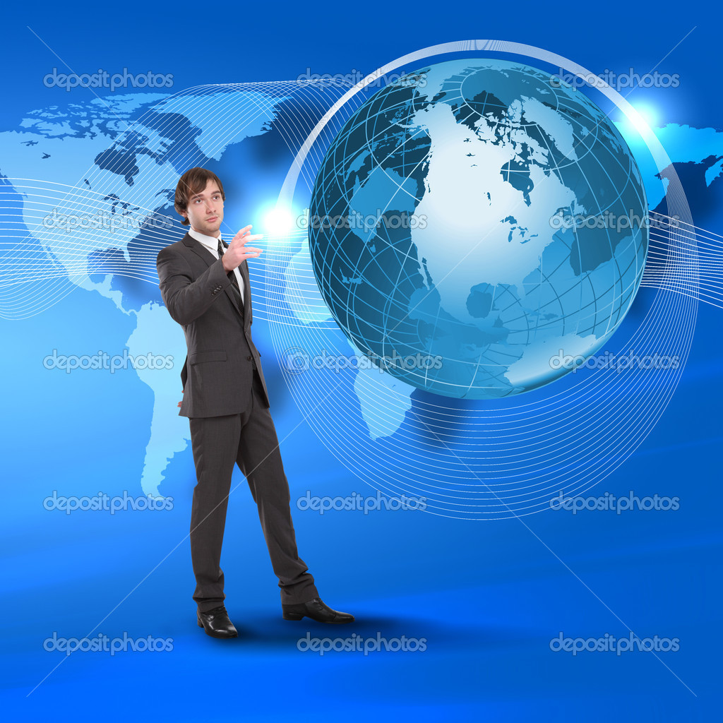 Young man touching a virtual surface. A symbol of high technology. Collage. — Stock Photo #5258291